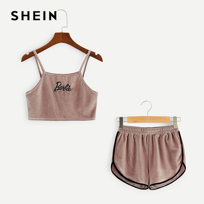 SHEIN Kiddie Pink Girls Embroidered Crop Velvet Cami Top And Shorts Set Kids Pajama Set 2019 Summer Sleeveless Casual Sleepwear surplice neckline printed cami romper