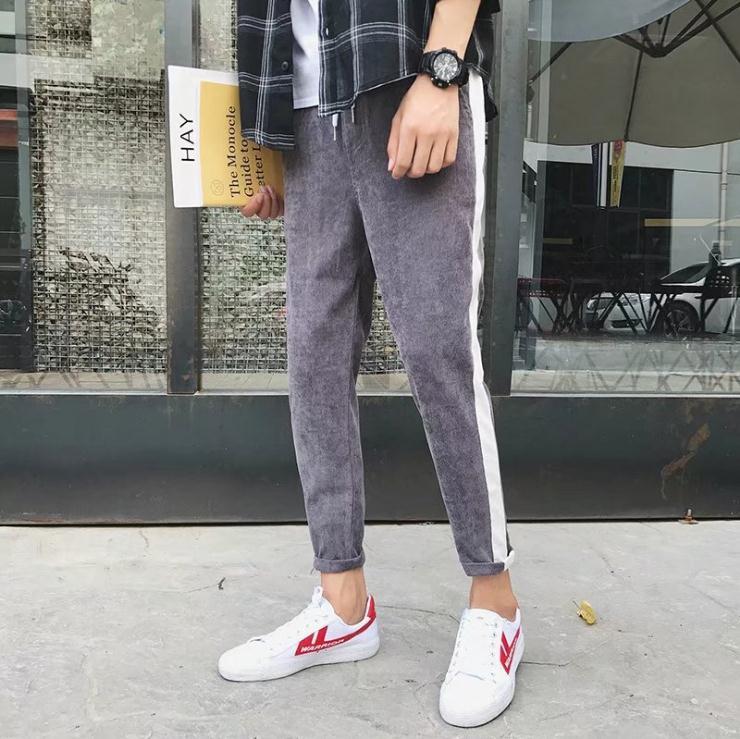 Top quality 2018 Spring Autumn elastic waist Men harem bottoms foot height corduroy pants letters retro joker leisure trousers