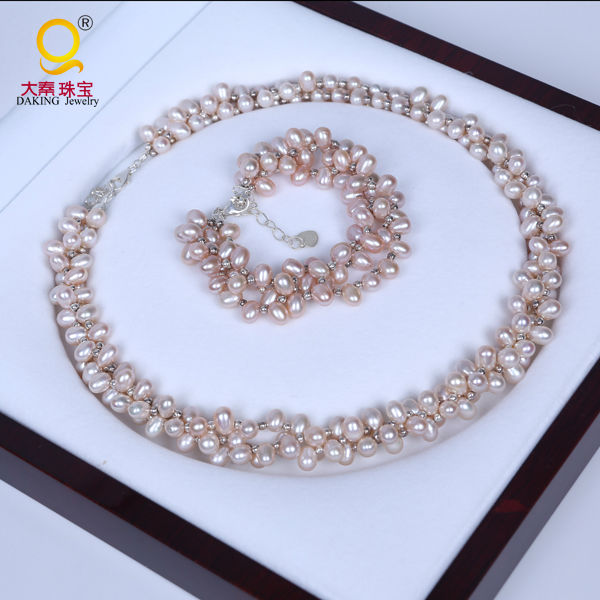 Daking REAL PEARL AAA Natural New Pink Rice Pearls 3 Strings Twisted Necklace Bracelet Fashion Jewelry (18 8 Long) Pearl silver pearl twisted open bracelet