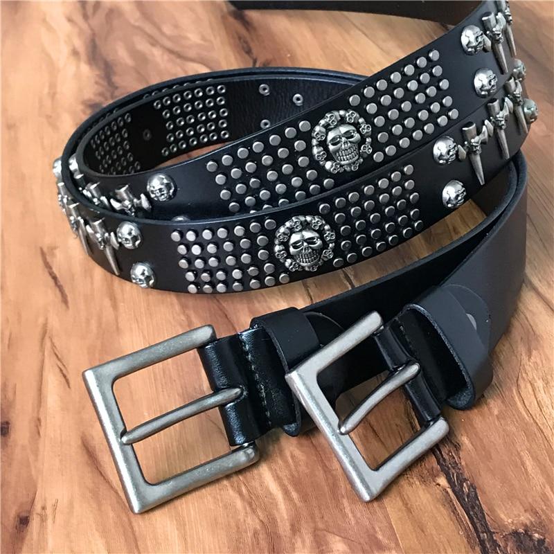 Genuine Leather Vintage Metal Skull Punk Men Belt Jeans Rock Belt Stud Cowboy Strap Cinturones Hombre Ceinture Homme TBT0051