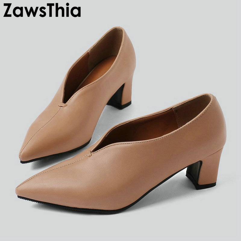 ZawsThia 2019 new spring summer pointed toe V cut woman shoes sexy ladies high heels women pumps stilettos big size 44 45 46 47