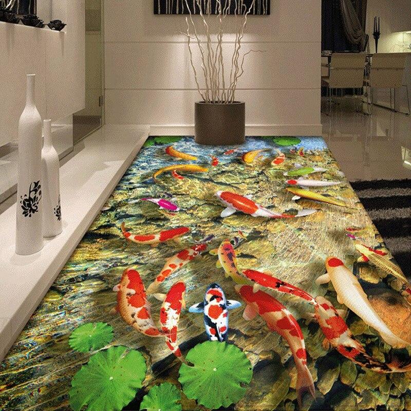 Custom Photo Floor Wallpaper Chinese Style Lotus Carp Living Room Kitchen Bathroom Floor Sticker Self-adhesive Mural Wallpaper