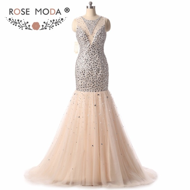 Rose Moda Champagne Gold Mermaid Prom Dress High Neck Silver Crystal ...
