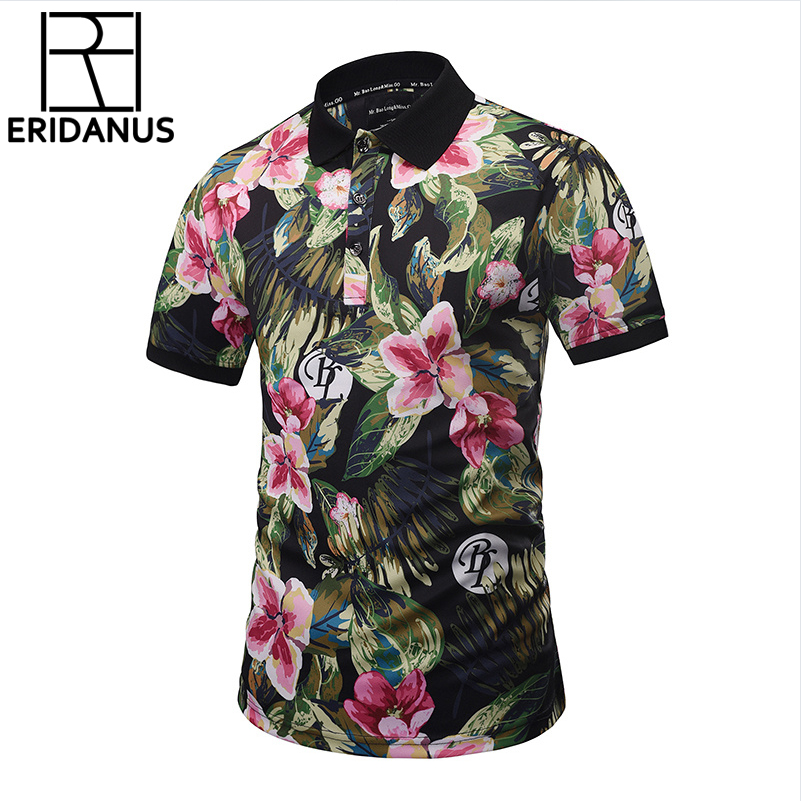 2018 New Brand   Polo   Shirts Men Summer Tops Print Brautiful Harajuku Stylish Flowers Graphic 3d   Polo   Shirts Plus Size X736