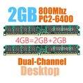 Novo selado DIMM DDR2 800 Mhz 4 GB ( 2 GB X 2 peças ) PC2-6400 para Desktop ram, Boa qualidade