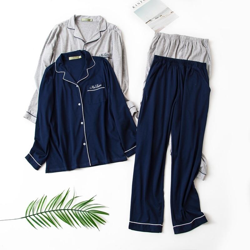 Navy And Gray Men's Winter 100% Cotton Long-sleeved Trousers Pajamas Men Sleepwear Sexy Pajama Set Solid Pijama Mans Pyjamas
