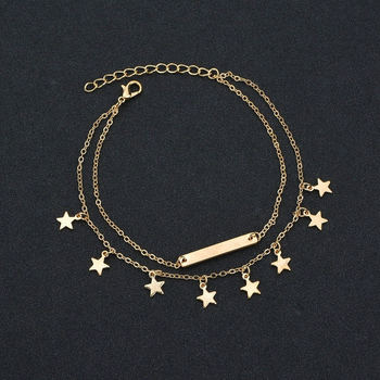Fashion Double Layer Anklet Star Tassels Pendant Foot Chain Woman Boho Ankelt Foot Bracelet On The Leg Jewelry for Women's Gifts 3