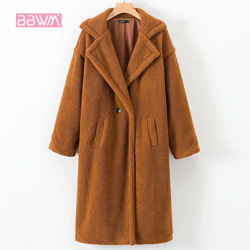 2018 winter new loose thick warm wild lambskin faux fur long female jacket coat