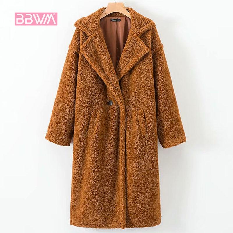 2018 winter new loose thick warm wild lambskin faux fur long female jacket   coat