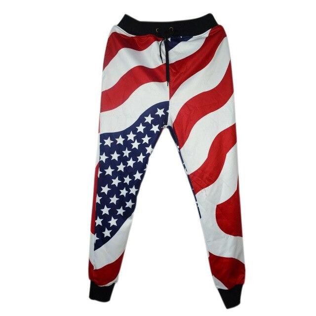Весна Осень мужская Одежда Хип-Хоп Танцев брюки Американский Флаг Звезды Stripes Печати случайные мужские бегунов брюки