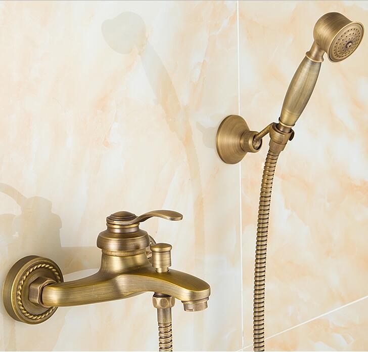 European Style Antique Retro Bathroom Shower Faucet Copper Brass Luxury Shower Set with Hand Shower Antique Bathtub Crane ZR006 phasat 4411 retro style copper triangle valve antique brass
