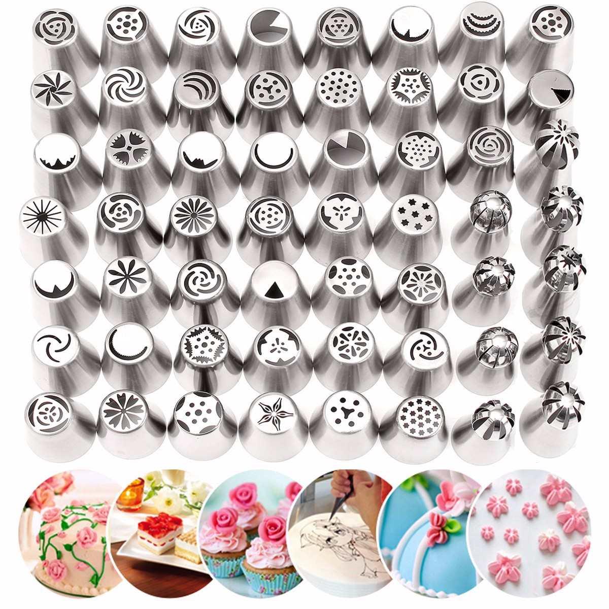 56pcs Tulip Flower Icing Piping Nozzles Set Russian Nozzles Pastry Cupcake Baking Decorating Tools Kit Cake Decorating Tips
