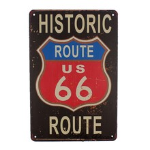 [Mike86] Route 66 Pinup Retro Logam Poster Bar Publik Decor Vintage Dinding Rumah art Craft 20*30 CM Mix Item AA-1063(China)