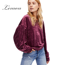 Фотография Lemon Apparel 2017 New Fashion Fuchsia Women Sweatshirt Casual Solid Velour Texture Female Tops Long Sleeves O-neck Ladies