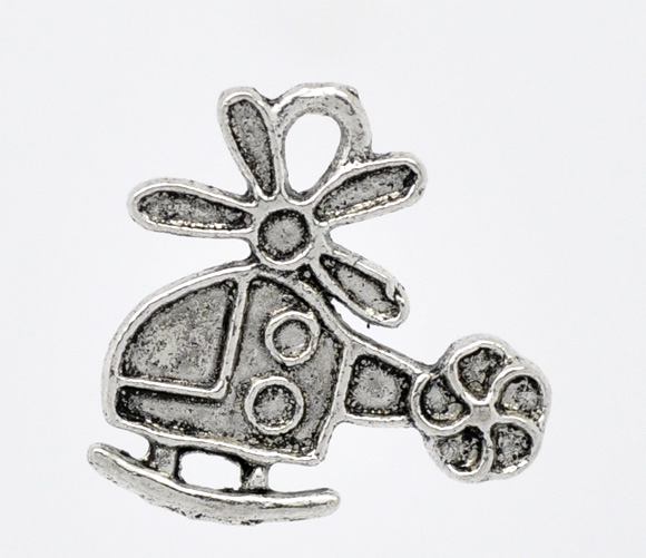 Doreen Box Lovely 50 Silver Tone Helicopter Charm Pendants 19x18mm (B11715)