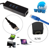 Top 1000Mbps Gigabit Ethernet Adapter USB To RJ45 Lan Network Card 3 Port USB3 0 Hub
