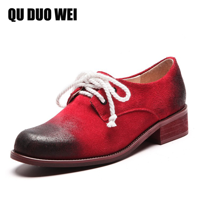 Genuine Leather Women Oxford Shoes 2018 Spring New Designer Fashion Round Toe Lacing Handmade Brogue Shoes Woman Casual Creepers weideng 2017 new brogue genuine leather women flats loafer casual ladies designer oxford shoes lace up fashion handmade