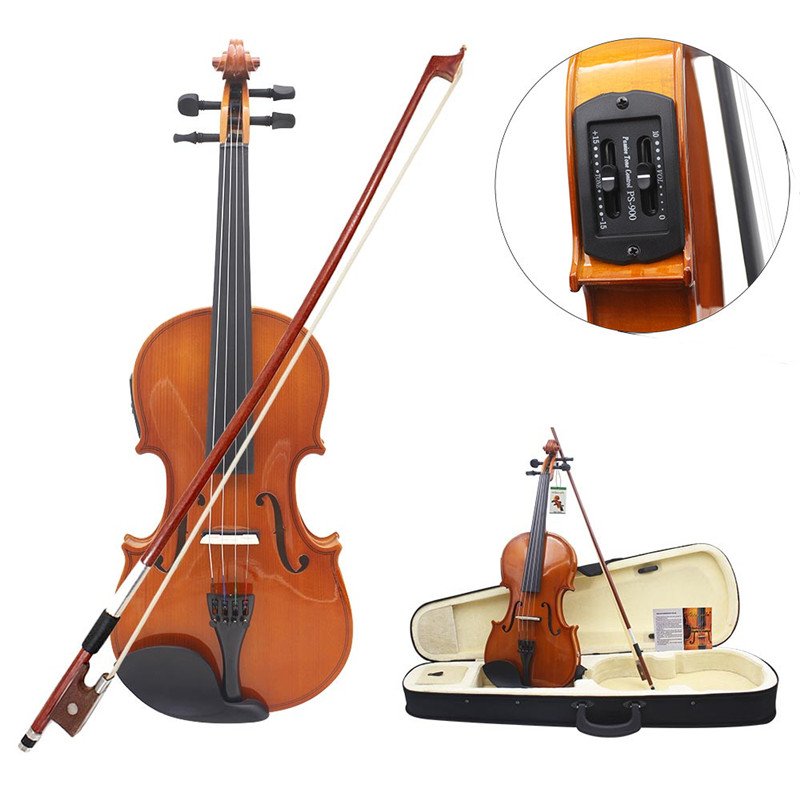 Full Size 4/4 Solid Basswood Electric Acoustic Violin With Violin Case Bow Rosin Strings Accessories brand new handmade colorful electric acoustic violin violino 4 4 violin bow case perfect sound