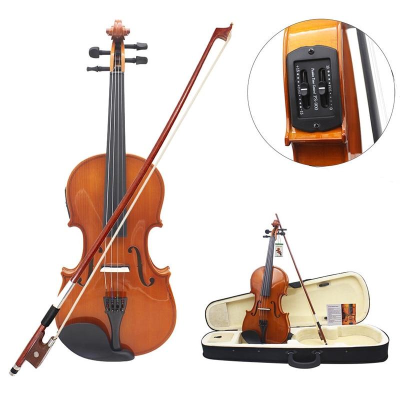 Pleine Taille 4/4 Solide Tilleul Électrique Acoustique Violon Avec Étui à Violon Arc Colophane Cordes Accessoires