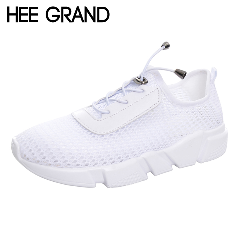 HEE GRAND Casual Woman Shoes 2017 Mesh Summer Style Solid Woman Flats Loafers Breathable Slip-on Shoes Size 35-40 XWC1183 siketu sweet bowknot flat shoes soft bottom casual shallow mouth purple pink suede flats slip on loafers for women size 35 40