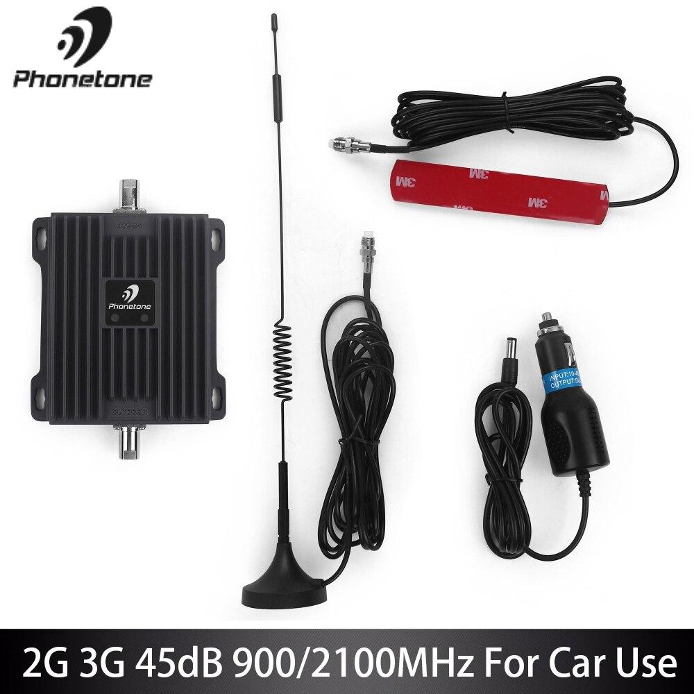 Répéteur GSM utilisation de voiture 2G EGSM 900 MHz WCDMA 3G 2100 MHz amplificateur de Signal de téléphone portable 45dB amplificateur cellulaire répéteur antennes Fullset