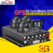 GPS Automotive Dvr For Bus/Truck 4CH D1 G-sensor Realtime 3G Car Cell Dvr  Distant Monitoring CCTV Safety Video Recorder I/O
