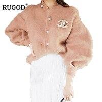 RUGOD New Korean Elegant Mink Cashmere Cardigan Women 2018 Fashion Pearl Button Lantern Sleeve Sweater Cardigan Warm Jumpers