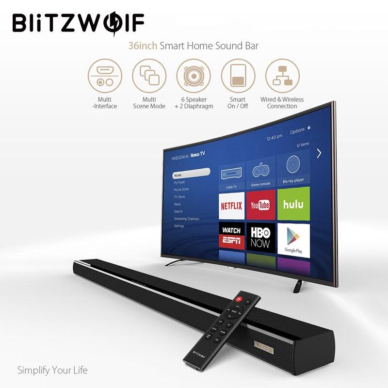 BlitzWolf 60 W bluetooth barre de son TV haut-parleur filaire et sans fil haut-parleur 36 pouces 2.0 canal pour PC avec Coaxial/optique/USB noir