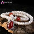 J.MOSUYA Brand Natural Women Pearl Necklace With Red Agate Jade Pendant Necklace Real Pearl Jewelry Gift