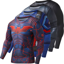 New Superhero Winter Spiderman Superman Anime 3D T Shirt Fitness Men Crossfit T-Shirt Long Sleeve Compression Shirt