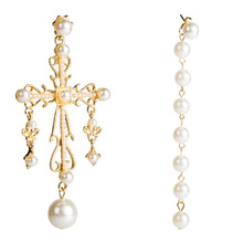 Perfect Quality Vintage Baroque Style Pearls Cross Dangle Earrings For Women Fashion Jewelry Trendy Statement