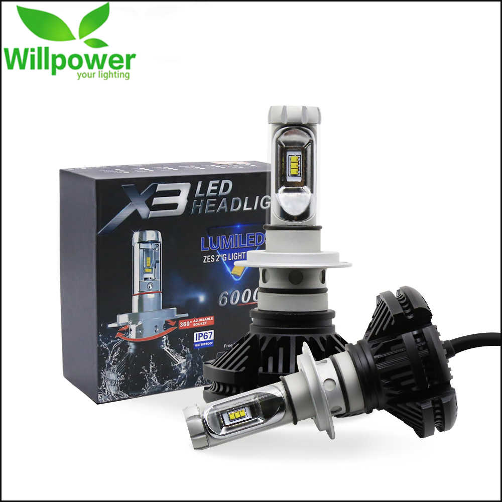 X3 ZES H4 H7 LED Car Headlight Bulb 3000K/6500K/8000K Yellow White Ice Blue Auto Lamp H1 H3 H11 9005 9006 LED Car Light