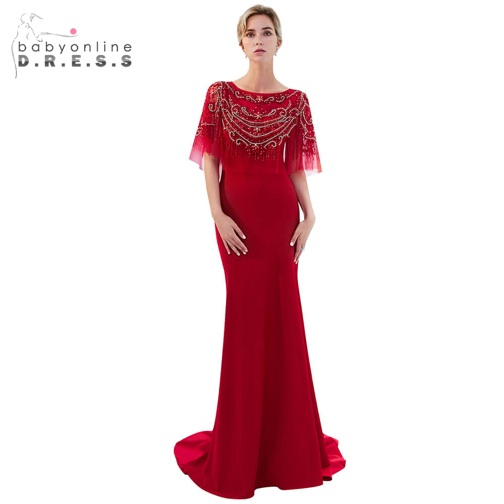 Elegant Red Tassel Long   Prom     Dresses   2019 Beading Crystal Boat-Neck Mermaid   Prom   Gown Custom Make Formal Party   Dresses