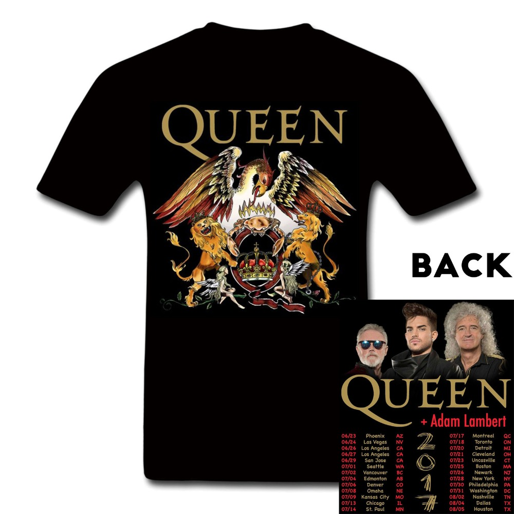 T shirt design vancouver wa - Queen And Adam Lambert World Tour Concert Tour Tee Tshirt Custom 100 Cotton High Quality