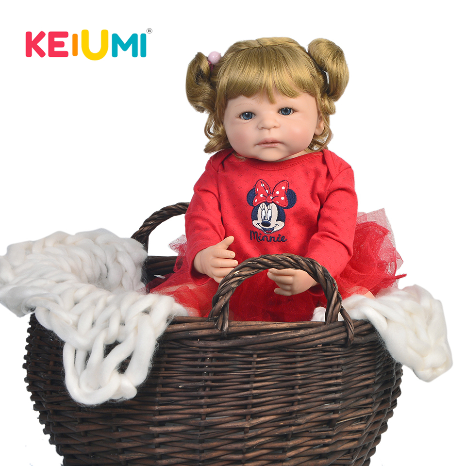 KEIUMI 22 Inch Full Vinyl Silicone Reborn Baby Dolls Realistic Princess Baby Doll For Kids Birthday