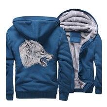 Animal Gray Wolf Printed Hip Hop Hoodies Men 2019 New Style Warm Casual Sweatshirts Mens Long Sleeve Hoodie Blue ackets CM01