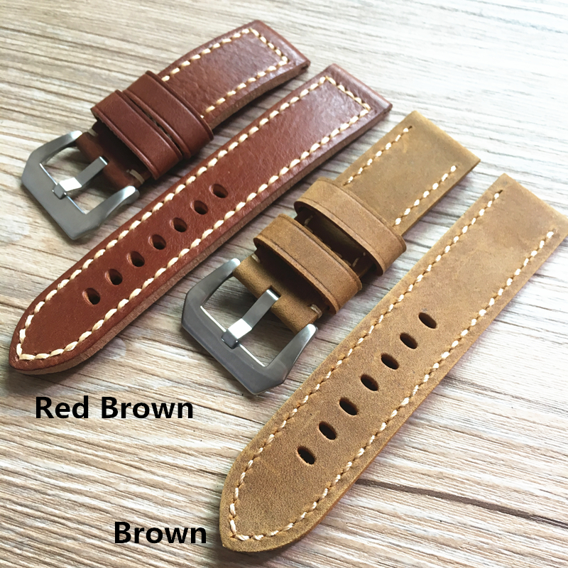 LUKENI 20mm 22mm 24mm 26mm High Quality Soft Thick Red Brown Oil Wax Leather Strap For PAM And Big Pilot Watchbands Wristband hand made oil wax leather watchbands 24mm retro leather strap classic male models for pam italian calfskin strap