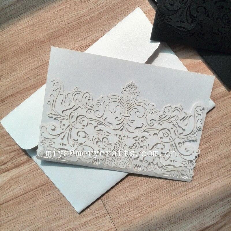 Horizontal white&black Laser Cut Indian Wedding Invitations ...
