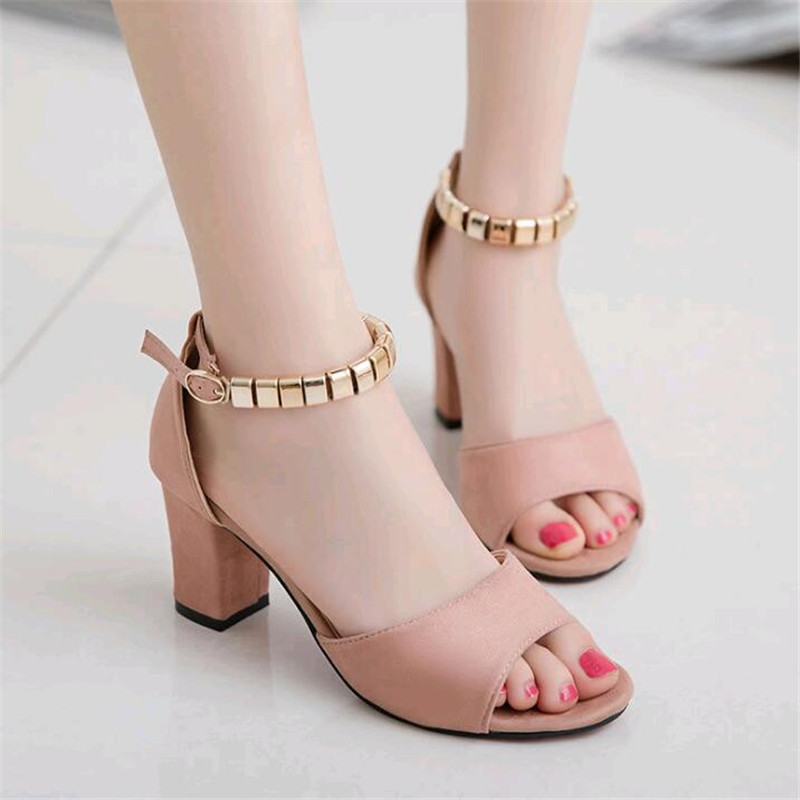Sandals In Summer Word Buckle Roman Thick with Edition Sexy Female Fish Mouth High-heeled Shoes Sandals In Summer