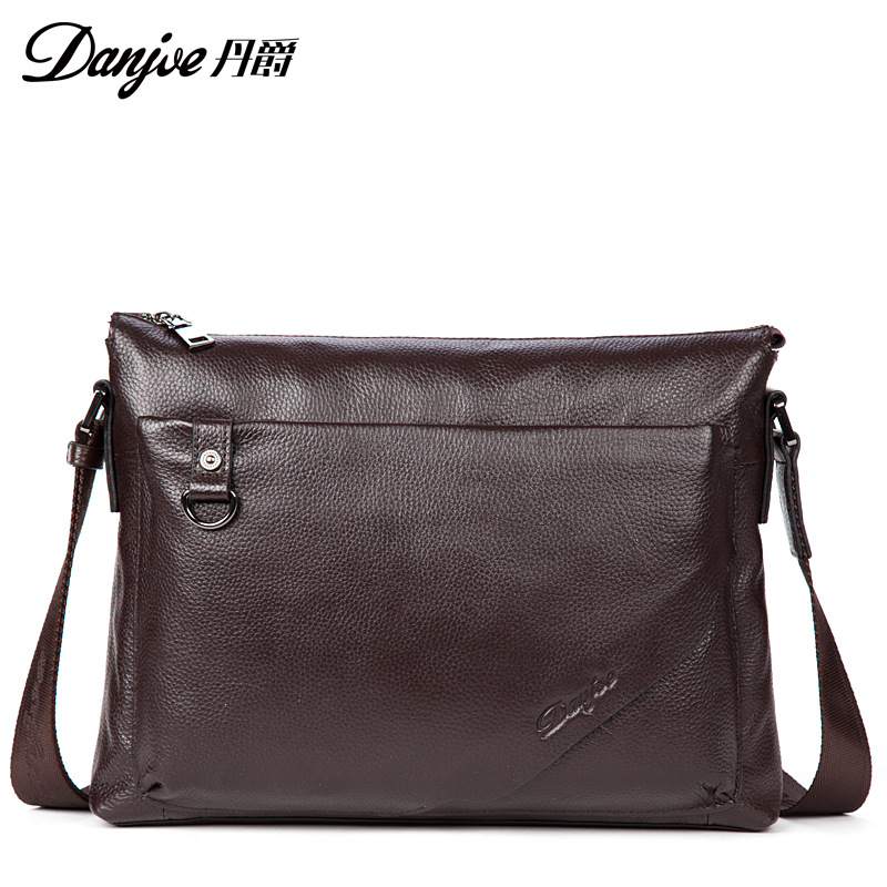 DANJUE Genuine Leather Briefcase Fashion Men Business Handbag Black Man Laptop Totes New Male Large Capacity Brand Shoulder Bag wire man bag small light horizontal handbag business bag male fashion portable genuine leather briefcase