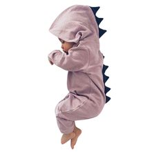 New Infant Newborn Baby Boy Girl Dinosaur With Hood Romper Jumpsuit Outfit Clothes Bodysuit Drop Shipping *N(China)
