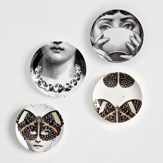 8 Inch Fornasetti Plates Home Decoration Christmas Decoration Dinner Plate Decorative Wall Dishes Black\u0026white Decorative plate & 8 Inch Fornasetti Plates Home Decoration Christmas Decoration Dinner ...