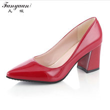 New 2017 Spring/Autumn Fashion Solid Women Pumps Pointed Toe High Square Heel Women Pumps Comfortable Slip-On Lady Wedding Pumps