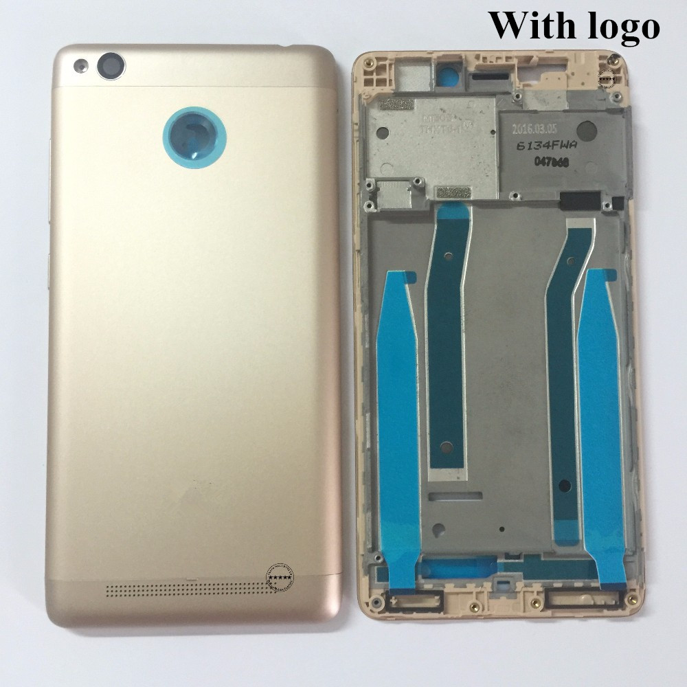 Original Middle Frame Back Rear <font><b>Battery</b></font> <font><b>Cover</b></font> Camera Lens For Xiaomi <font><b>Redmi</b></font> <font><b>3S</b></font>/<font><b>Redmi</b></font> 3 Pro Housing Door Side Volume Power Button image