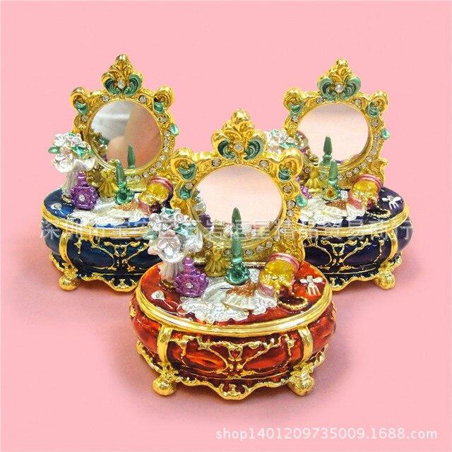 Grade Metal Craft Gift Ideas Home Decoration European Luxury Diamond  Dressing Table With Mirror Birthday Gift