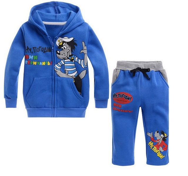 2016 Cool Sets Kids Boys Girls Wolf Printing Zipper Blue Hoodies +Pants Suits for 90-130cm Children