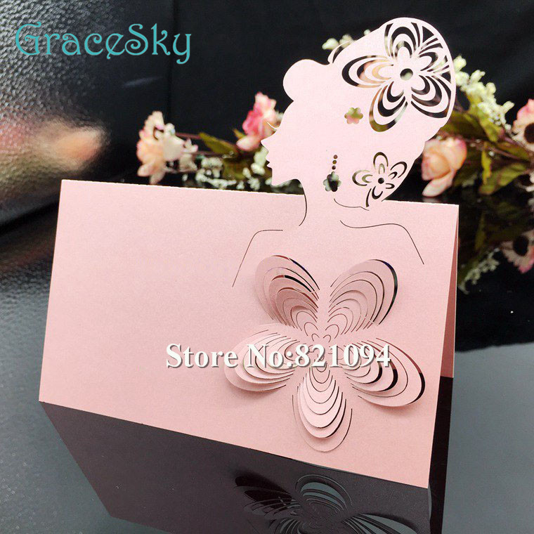 50Pcs Laser Cut Paper Seat Name Table Cards Wedding Birthday Party Invitation Princess Design For Home Decoration In