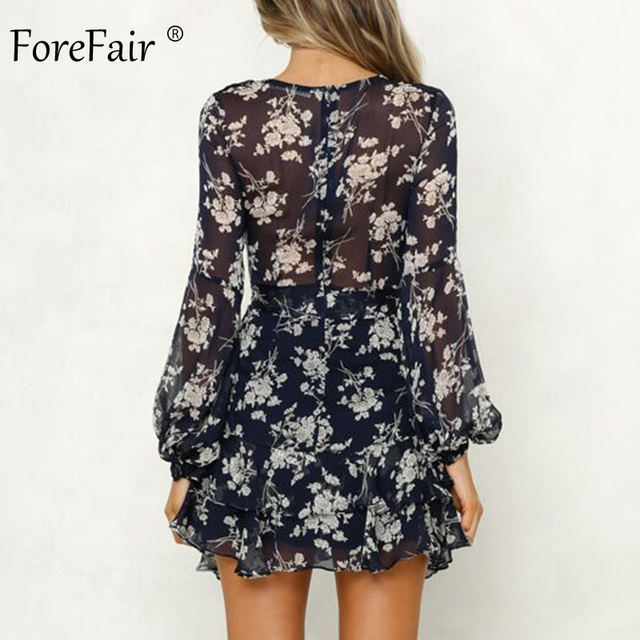 Forefair Transparent Floral Chiffon Dress Sexy Long Sleeve Elegant Boho A Line Vintage Sashes Tunic Ruffle Autumn Dress Women 1
