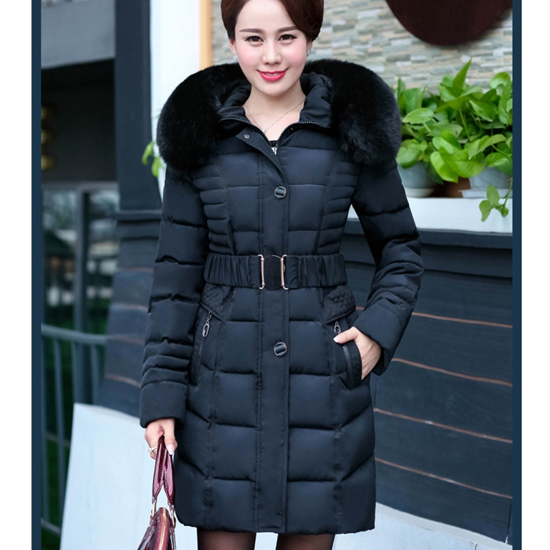 2017 NEW HOT WOMEN WINTER JACKER THICKEN FUR COLLAR HOOD WARM SLIM FEMALE PARKAS ADJUSTABLE WAIST COTTON WADDED COA ZL680