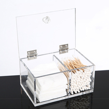 Transparent Acrylic Cotton Swab Organizer Holder Makeup Pads Storage Box Desktop Cosmetics Jewelry Case Household Container